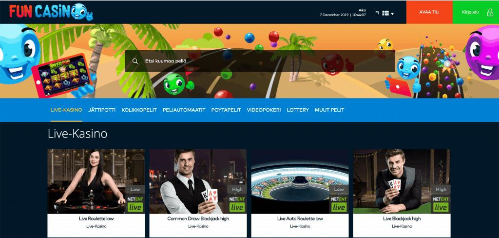 Funcasino live casino lobby