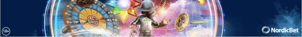 Nordicbet logo ja Gonzos Quest pelistä tuttu soturi
