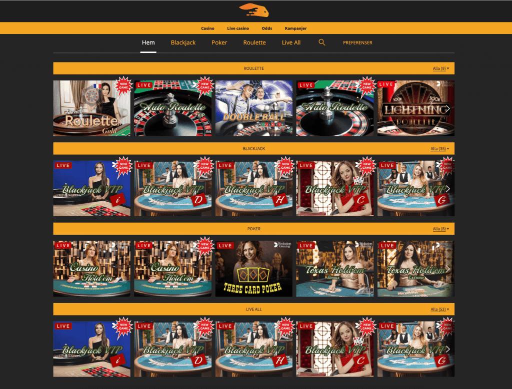 Snabbis live casino lobby