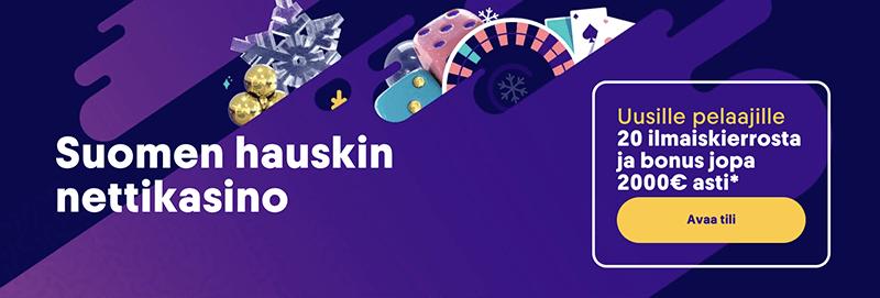 Casumo on Suomen hauskin nettikasino ja uusille pelaajille tarjotaan kasinobonuksena 20 ilmaiskierrosta sekä talletusbonus jopa 2000€ saakka