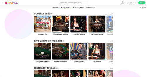 Dreamz live casino-sivusto jossa näkyy Evolution Gamingin pöytäpelit
