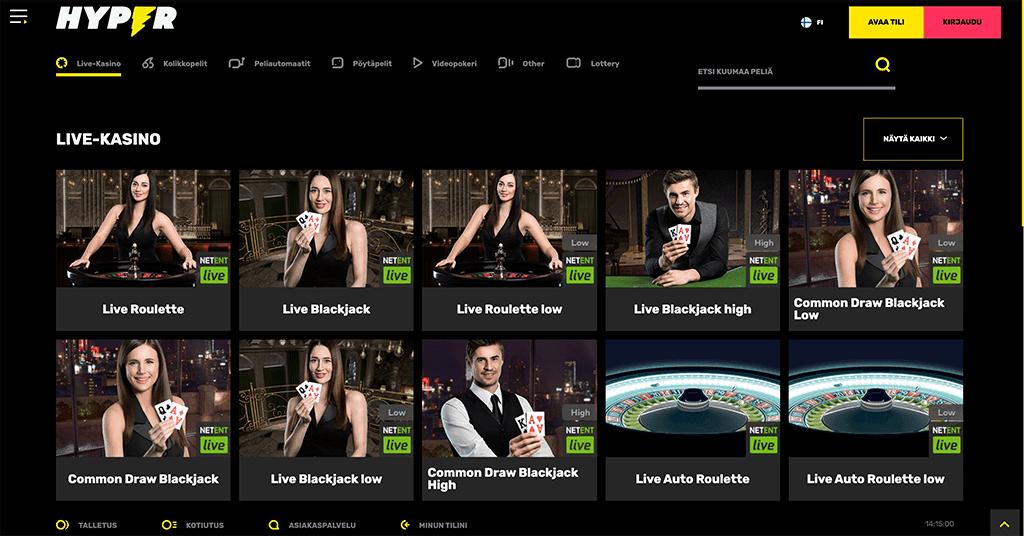 Hyper casinon live kasinoaula jossa heillä on ruletti ja blackjack-pöydät