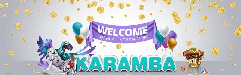 Karamba casino tervetulo-banneri ja papukaija-maskotti