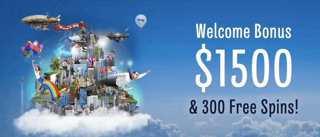 Get a welcome bonus of $1500 and 300 freespins at sloty casino