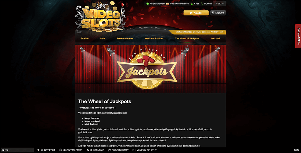 Videoslots the wheel of jackpots