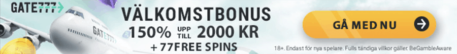 Gate 777 välkomstbonus på 150% upp till 2000 kr + 77 freespins