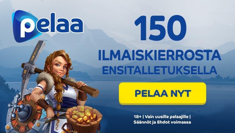 Pelaa Casino tarjoaa 150 ilmaiskierrosta ensitalletuksella