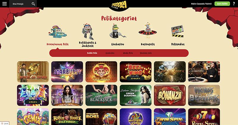 Casoola casino kasinoaulan pelikategoriat ja kolikkopelit esittelyssä