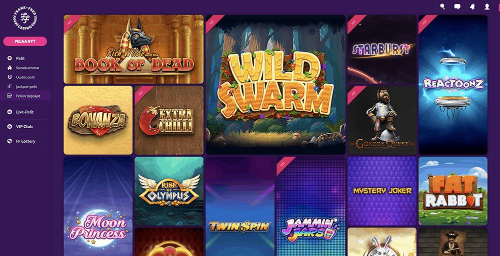 FrankFred casinoaula jossa näkyy frank&fred casinon tarjoamia kolikkopelejä