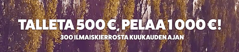 frank&fred tarjoaa 100% kasinobonuksen aina 500€ saakka ja sen lisäksi 300 ilmaiskierrosta