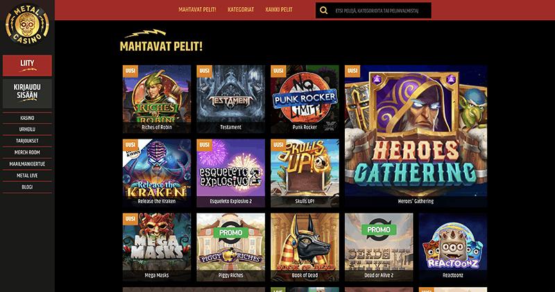 Metalcasino kasinoaula josta näkyy heidän tarjoamia kolikkopelejä