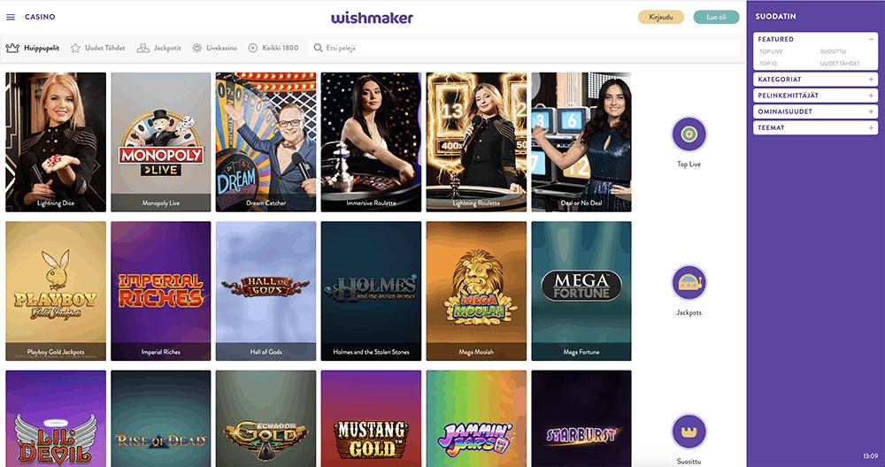 Wishmaker casino ja heidän kolikko- sekä pöytäpelit