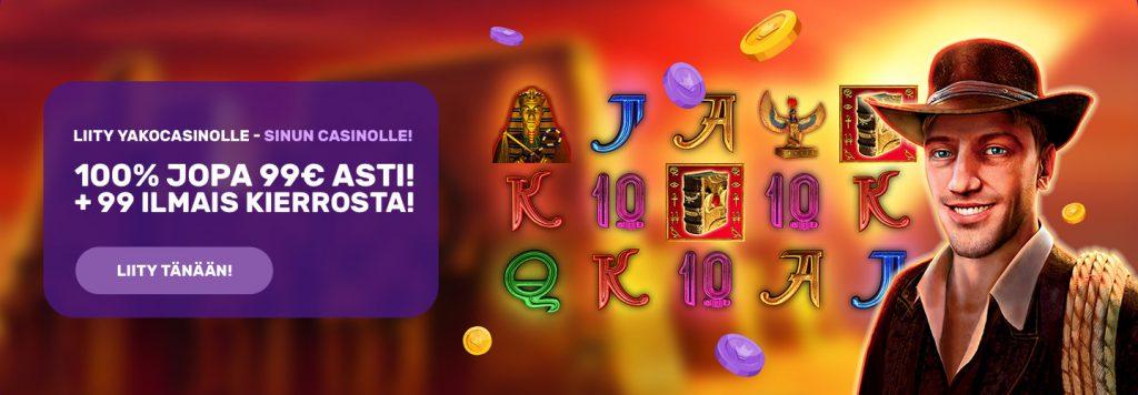 Yako Casino tarjoaa 100% talletusbonuksen jopa 99€ asti ja sen lisäksi ilmaiskierroksia 99 kappaleen verran
