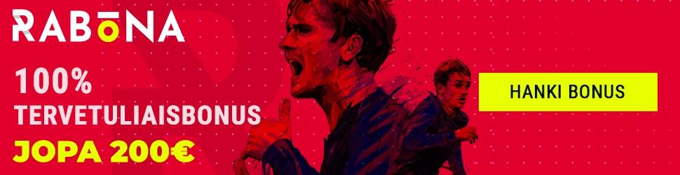 Rabona vedonlyöntibonus jopa 200€ ja miespuolinen jalkapalloilija punaisella taustalla