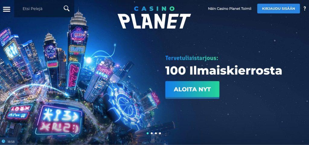 Casino planet etusivu ja tervetuliaistarjous 100 ilmaiskierrosta