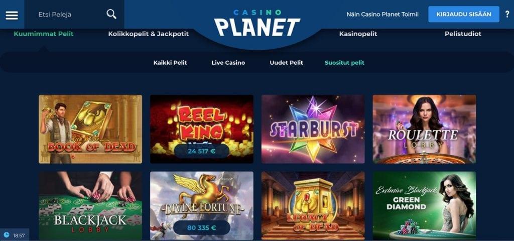 Casinoplanet kasinoaula ja peliautomaatit sekä pöytäpelit esillä