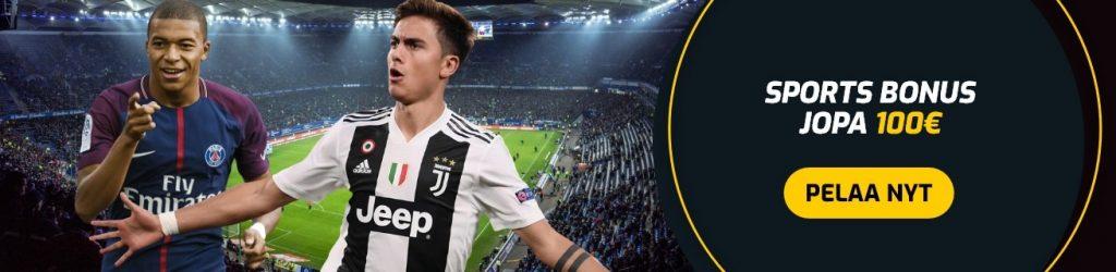 Campeonbet vedonlyönti bonus jopa 100€ saakka ja Juventus jalkapalloilija