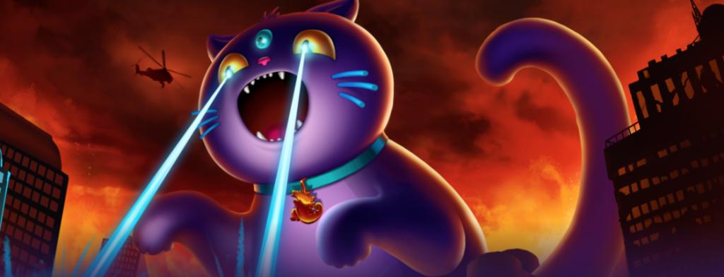 BaoCasino kissa joka teräsmiesmäisesti ampuu laaseria silmistä ja tuhoaa kaupungin talot
