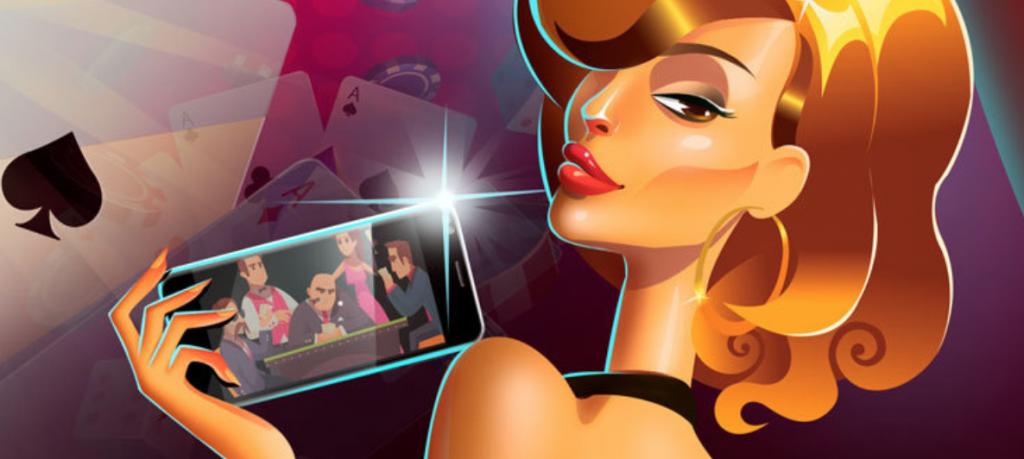 Frankcasino asiakaspalvelu, lentävät pelikortit ja kaunis nainen joka ottaa selfien älypuhelimella