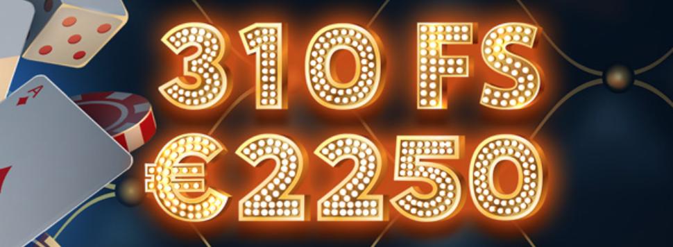 Frankcasino kasinobonus uusille pelaajille on 310 ilmaiskierrosta ja 2250€