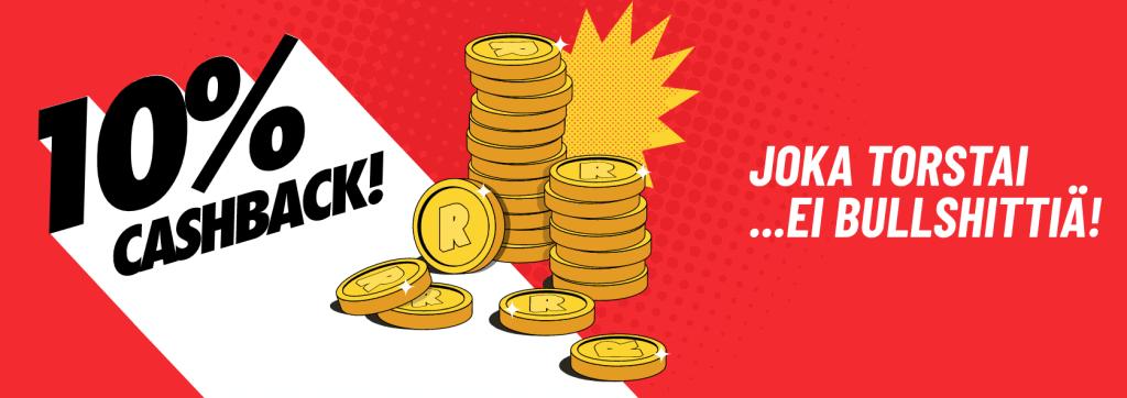 Refuel casino tarjoaa joka torstai 10% cashback bonuksen eli käteispalautusta, ei bullshittiä