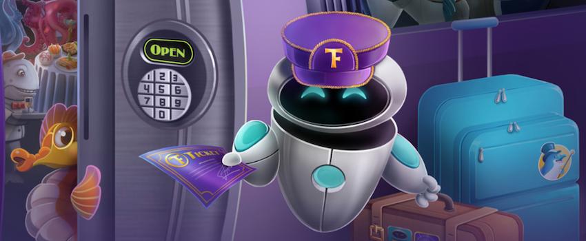 True Flip kasinon robotti junamatkalla matkalaukkujen kanssa