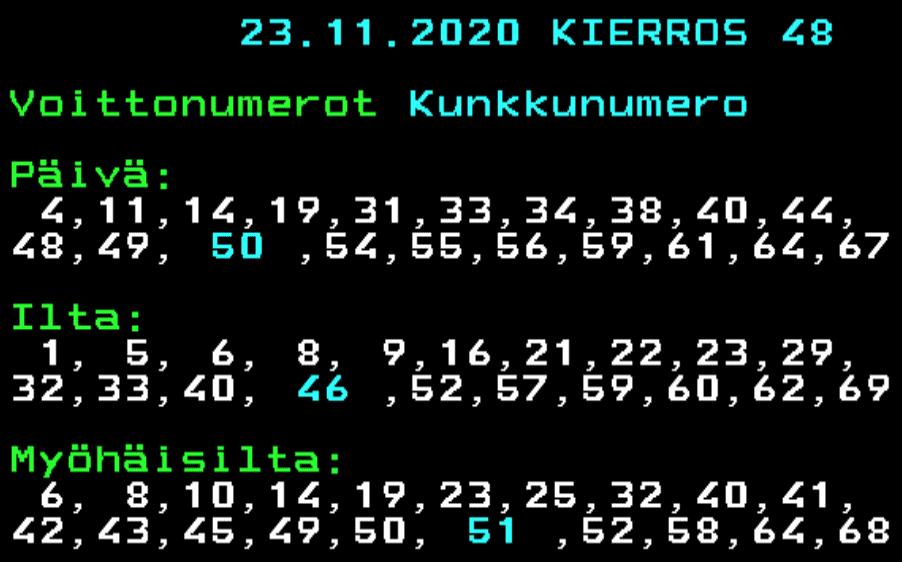 uusimmat kenonumerot tänään 23 marraskuuta 2020 ja kunkkunumero